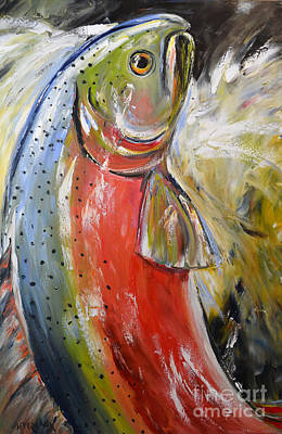 Salmon Painting - Salmon by Cher Devereaux