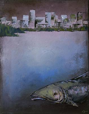 Fish Underwater Painting - Salmon City by Carolyn Doe