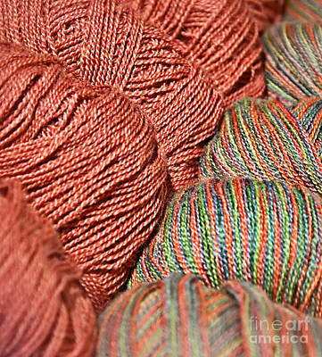 Photograph - Salmon Colored Yarn In Skeins Art Prints by Valerie Garner