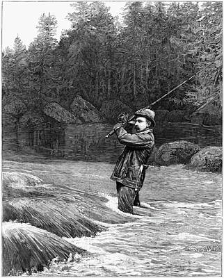 Pole Drawing - Salmon Fishing, 1885 by Granger