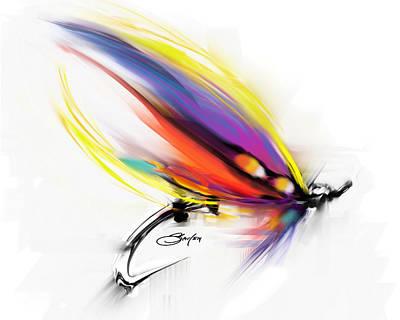 Salmon Mixed Media - Salmon Fly Pattern Art - Savlen Special by Savlen Art
