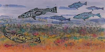 Batik Wildlife Tapestry - Textile - Salmon In The Stream by Carolyn Doe
