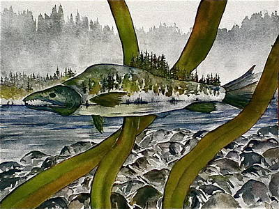 Painting - Salmon Landscape by Carolyn Doe