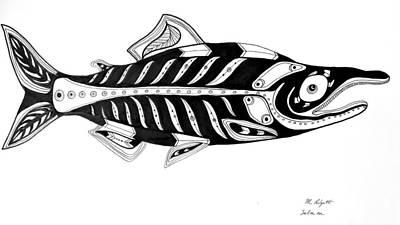Seattle Drawing - Salmon by Morgan Padgett