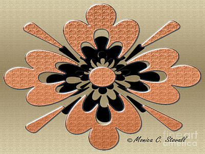 Digital Art - Salmon On Gold Floral Design by Monica C Stovall