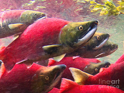 Photograph - Salmon Run - Painterly by Wingsdomain Art and Photography