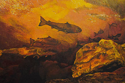 Salmon Painting - Salmon Run by Terry Gill