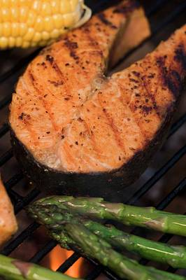 Grilled Fish Photograph - Salmon Steak And Vegetables On A Barbecue by Foodcollection