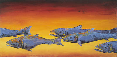 Fish Underwater Painting - Salmon Sunrise by Carolyn Doe