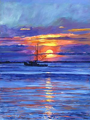 Salmon Trawler At Sunrise Art Print by David Lloyd Glover