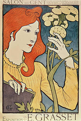 Colored Woman Art Drawing - Salon Des Cent by Eugene Grasset