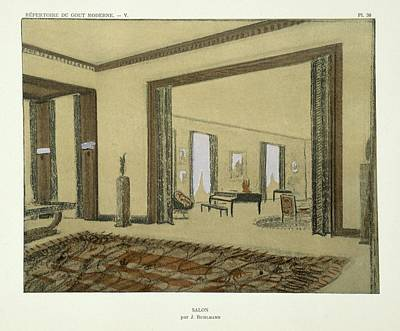 1920s Drawing - Salon, From Repertoire Of Modern Taste by Jacques-Emile Ruhlmann