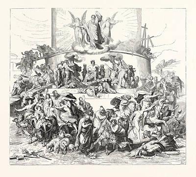 Tower Of Babel Drawing - Salon Of 1855. Prussian School by Kaulbach, Wilhelm Von (1805-1874), German