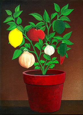 Pepper Painting - Salsa Plant by Snake Jagger