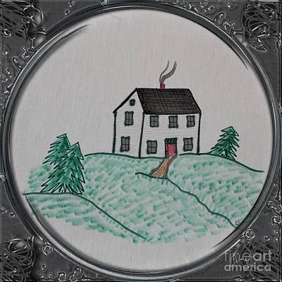 Newfoundland Quilt Drawing - Salt Box Style House - Porthole Vignette by Barbara Griffin
