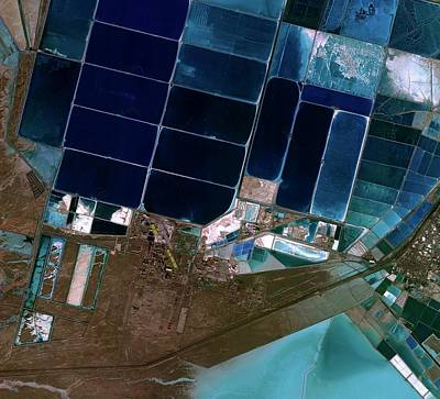 Salt Evaporation Ponds Art Print by Kari/european Space Agency