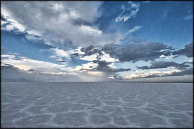 Photograph - Salt Flats Watercolor by Erika Fawcett