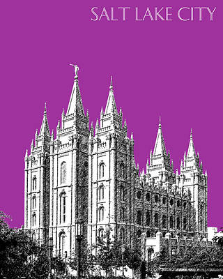 Temple Digital Art - Salt Lake City Skyline Mormon Temple - Plum by DB Artist