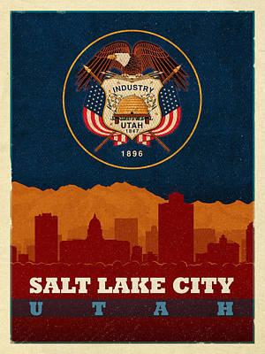 Flag Mixed Media - Salt Lake City Skyline State Flag Of Utah Art Poster Series 009 by Design Turnpike