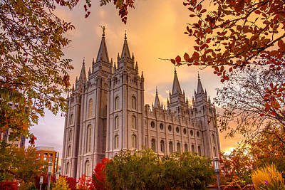 Square Photograph - Salt Lake City Temple by Emily Dickey
