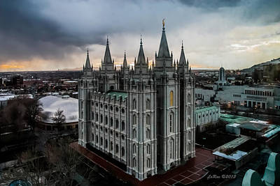 Slc Temple Photograph - Salt Lake City Temple Sunset by La Rae  Roberts