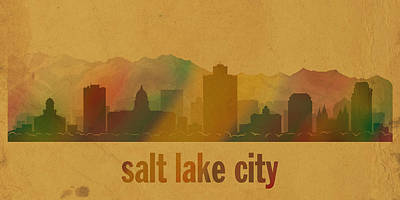 Salt Lake City Utah City Skyline Watercolor On Parchment Art Print by Design Turnpike