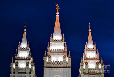 Salt Lake Lds Mormon Temple At Night Art Print by Gary Whitton