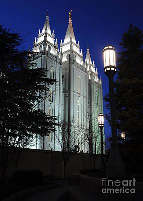 Salt Lake Mormon Temple At Night Art Print by Gary Whitton