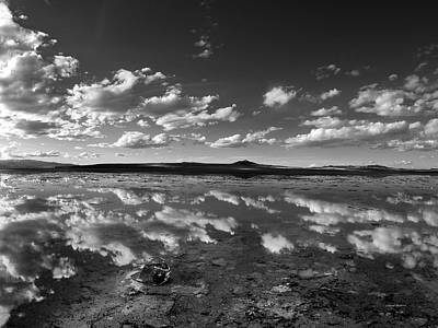 Salt Lake Reflections Black And White Art Print