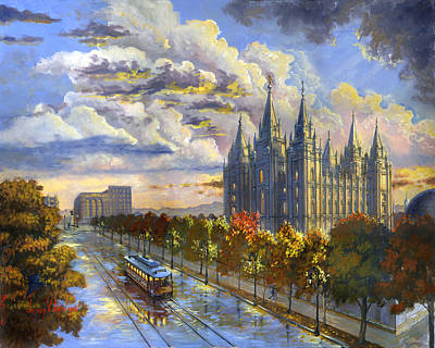 Church Of Jesus Christ Of Latter-day Saints Painting - Salt Lake Solace by Jeff Brimley