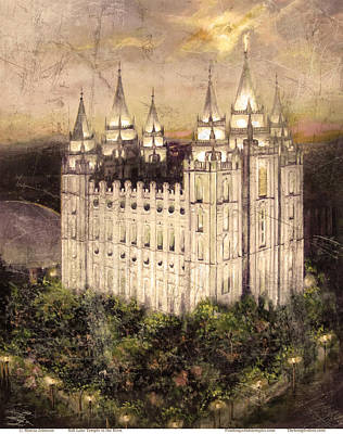 Painting - Salt Lake Temple In The Evening  Antique Pink by Marcia Johnson