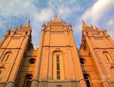 Salt Lake Temple Sunset Closeup Art Print by Jenny Wood