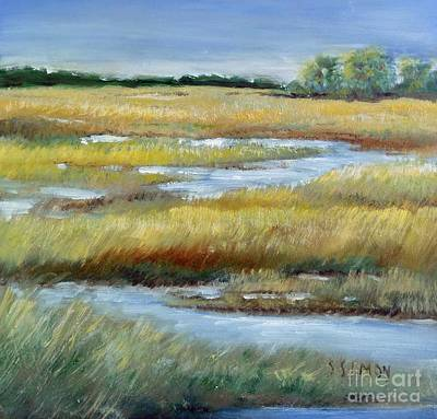 Cumberland River Painting - Salt Marsh by Sally Simon