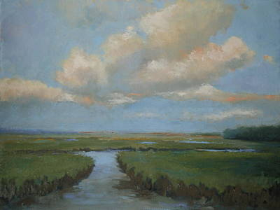 Salt Marsh. New England Painting - Salt Marshes Summer Day by Jay Quigley