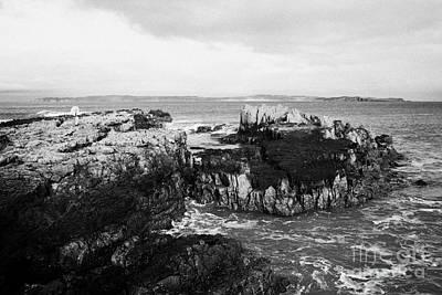 Salt Pan Rocks At Ballycastle Beach With Rathlin Island In The Background In Winter County Antrim Northern Ireland Art Print by Joe Fox