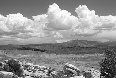 Photograph - Salt Valley Overlook With La Sal Mountains Bw by Mary Bedy