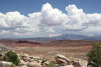 Photograph - Salt Valley Overlook With La Sal Mountains by Mary Bedy