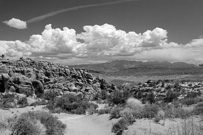 Photograph - Salt Valley With La Sal Mountains Bw by Mary Bedy