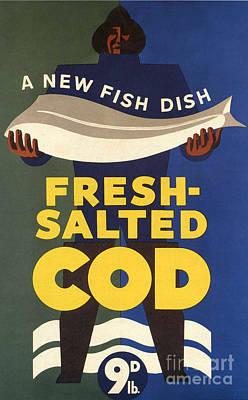 Drawing - Salted-cod 1940s Uk Fish Salted Cod by The Advertising Archives