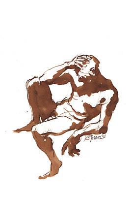 Sepia Ink Drawing - Saltimbanco by Karl Gnass