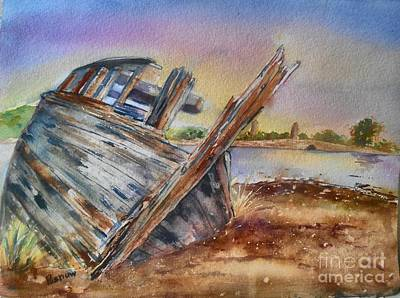 Ship Wreck Painting - Saltmills Wreck by Patricia Pushaw
