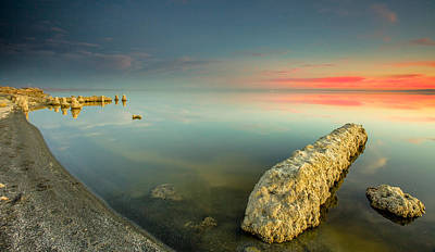 Art Print featuring the photograph Salton Sea Sunset by Robert  Aycock
