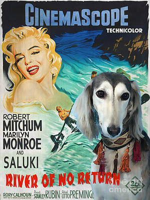 Saluki Painting - Saluki Art - River Of No Return Movie Poster by Sandra Sij