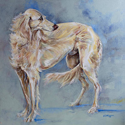 Sighthound Painting - Saluki by Derrick Higgins
