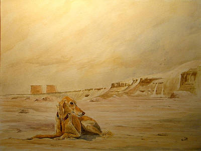Orientalist Painting - Saluky At Luxor by Juan  Bosco