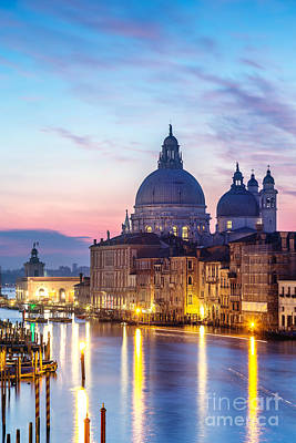 Accademia Photograph - Salute Church And Grand Canal At Sunrise - Venice by Matteo Colombo
