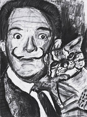 Salvador Dali And Mustache With Ocelot Art Print