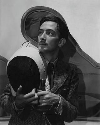 Black And White Photograph - Salvador Dali Holding Fencing Equipment by Cecil Beaton