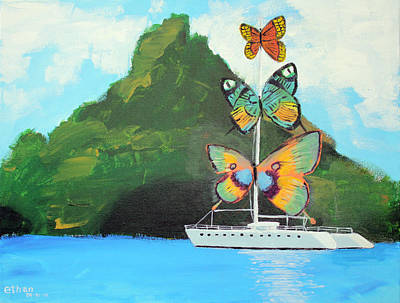 Salvador Dali Inspired Butterfly Catamaran Art Print by Ethan Altshuler