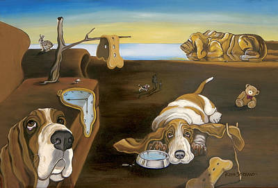 Salvador Doggy - The Persistence Of Basset Hound Art Print by Gretchen Kish Serrano
